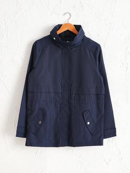 NAVY - Stand-Up Collar Short Coat with Hood
