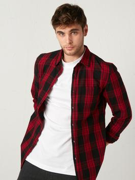 RED - Extra Slim Fit Chequered Long Sleeve Flannel Shirt