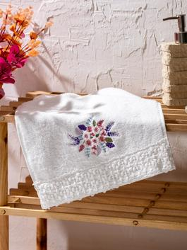 ECRU - Flower Embroidery Hand Towel