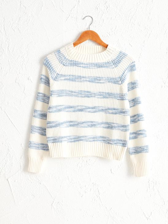 BLUE - Striped Loose Sweater - 0W6166Z8