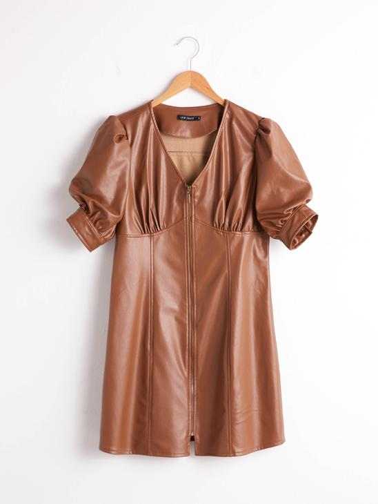 BROWN - Leather Look Zipper Front Dress - 0WGV89Z8