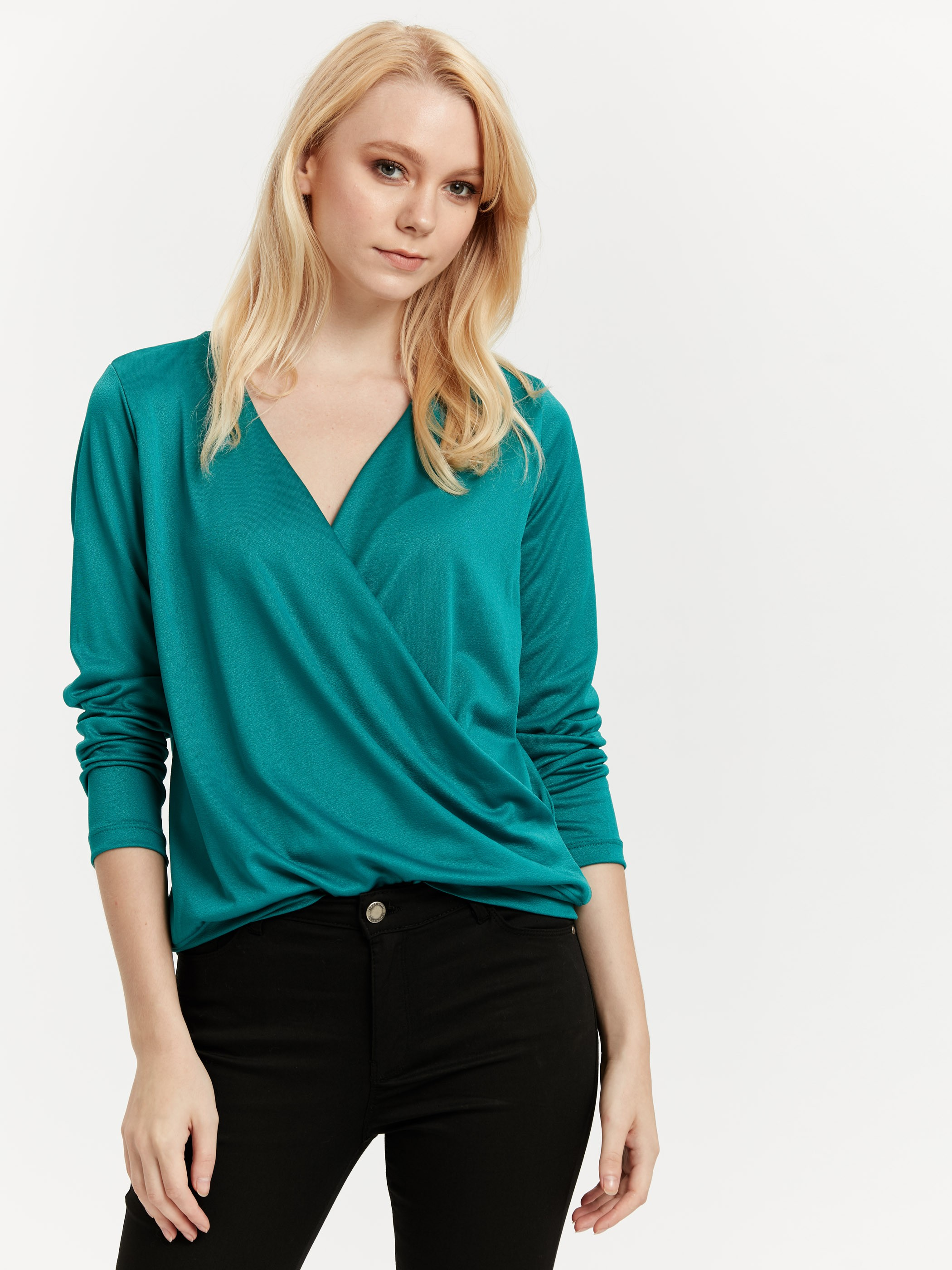 TURQUOISE - Double Breasted Collar Blouse - 8WI393Z8