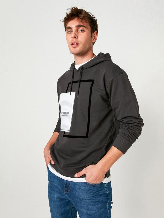 ANTHRACITE - Printed Heavy Hoodie - 0WFP98Z8