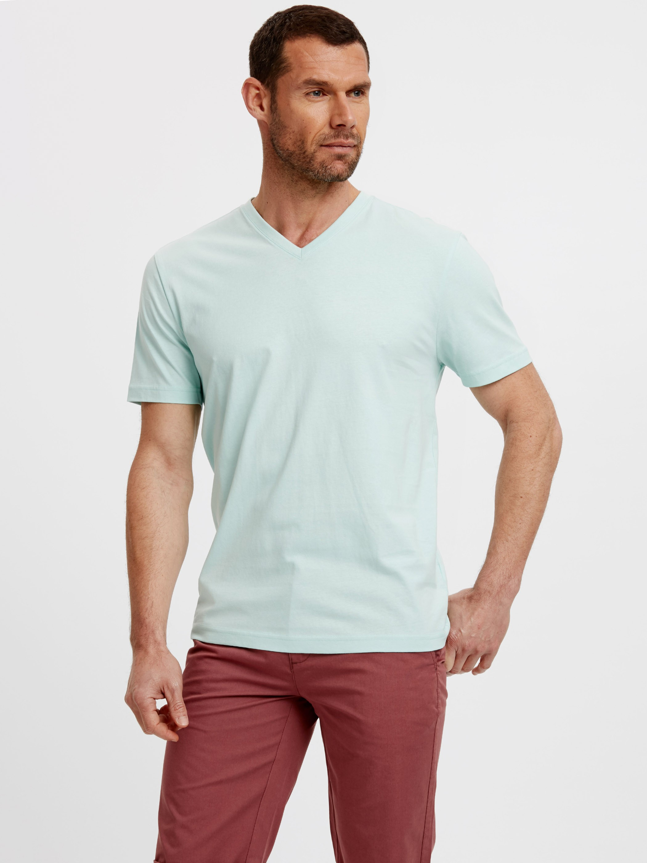 TURQUOISE - V-Neck Short Sleeve Basic Cotton T-Shirt - 8S0917Z8