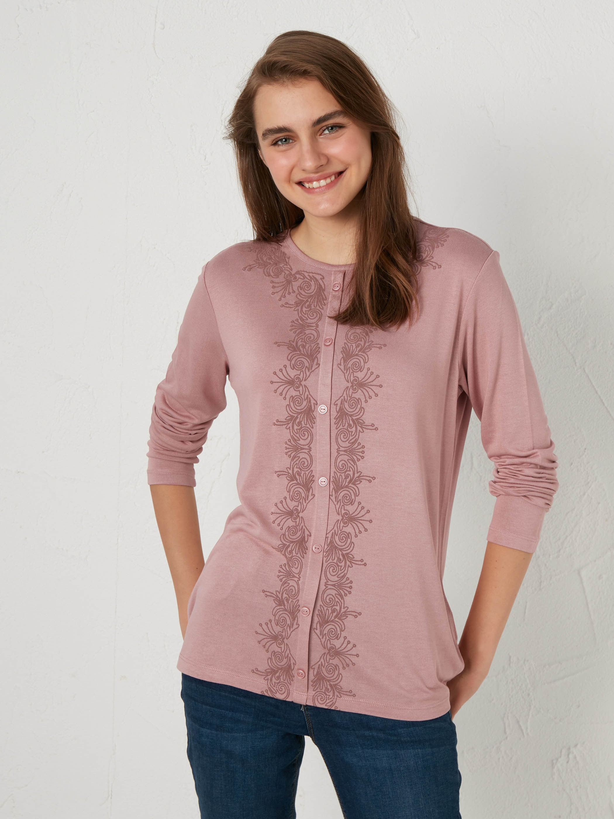 PINK - Embroidered Neck Flexible T-Shirt - 0WGT43Z8