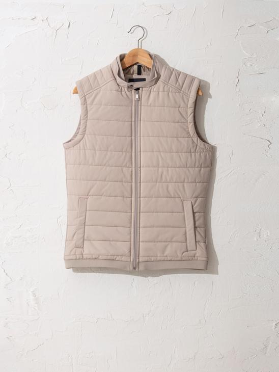 BEIGE - Slim Fit Textured Lightweight Vest - 0W0586Z8