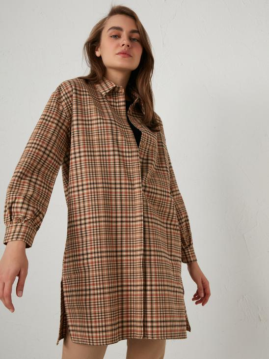 BROWN - Chequered Oversize Tunic - 0WGT37Z8