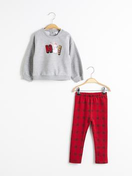 GREY - Baby Girl Christmas-Themed Sweatshirt and Tights Set