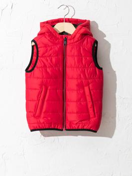 RED - Boy's Puffer Vest with Hood