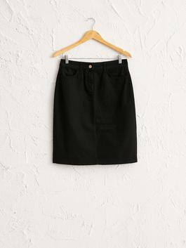 BLACK - Straight Fit Cotton Skirt