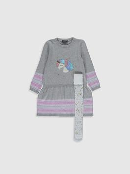 GREY - Girl's Tricot Dress and Tights
