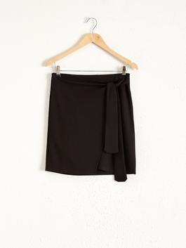 BLACK - Tie Waist Mini Skirt