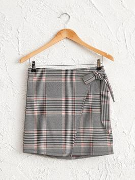 GREY - Plaid Patterned Double Breasted Skirt