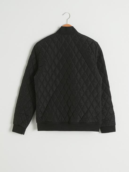 BLACK - Comfortable Fit Quilted Figured Short Coat - S10661Z8