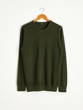 GREEN - Crew Neck Basic Lightweight Tricot Jumper