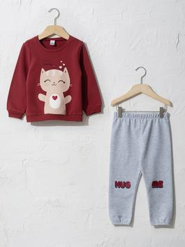 BORDEAUX - Baby Girl's Sweatshirt and Trousers