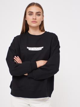 BLACK - Printed Crew Neck Sweatshirt