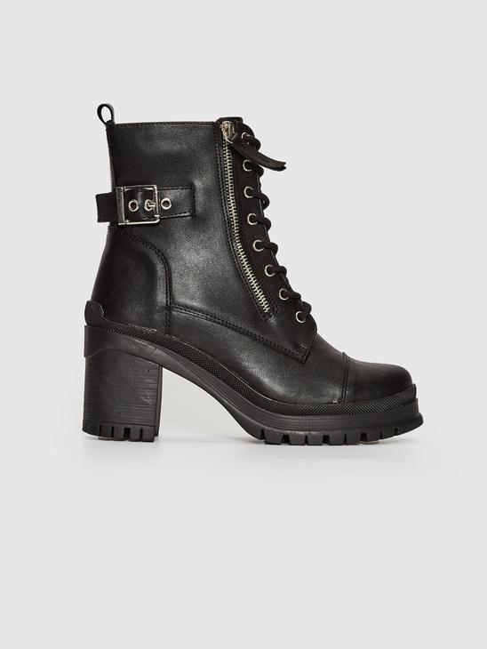 BLACK - Women's Lace-Up Leather Look Boot - 0WI832Z8