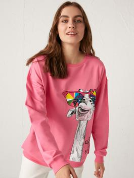 PINK - Crew Neck Printed Sweatshirt