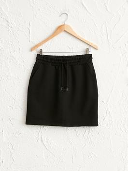 BLACK - Elastic Waist Mini Skirt