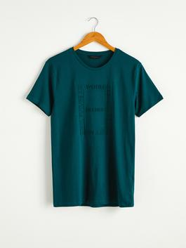 GREEN - Crew Neck Printed Combed Cotton T-Shirt