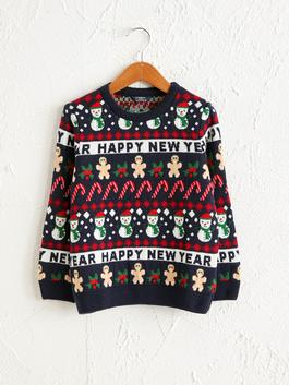 NAVY - Boy's New Year Themed Tricot Jumper