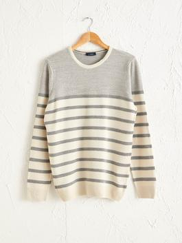 BEIGE - Striped Crew Neck Lightweight Tricot Jumper