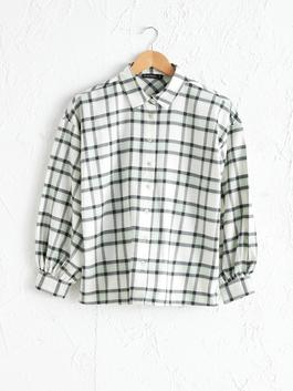 GREEN - Loose Fit Chequered Shirt