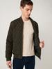 KHAKI - Comfortable Fit Quilted Figured Short Coat - S10661Z8