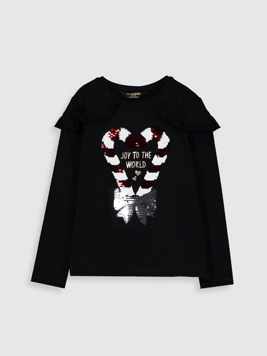 BLACK - Girl's Double-Sided Sequin Cotton T-Shirt - 9WH599Z4