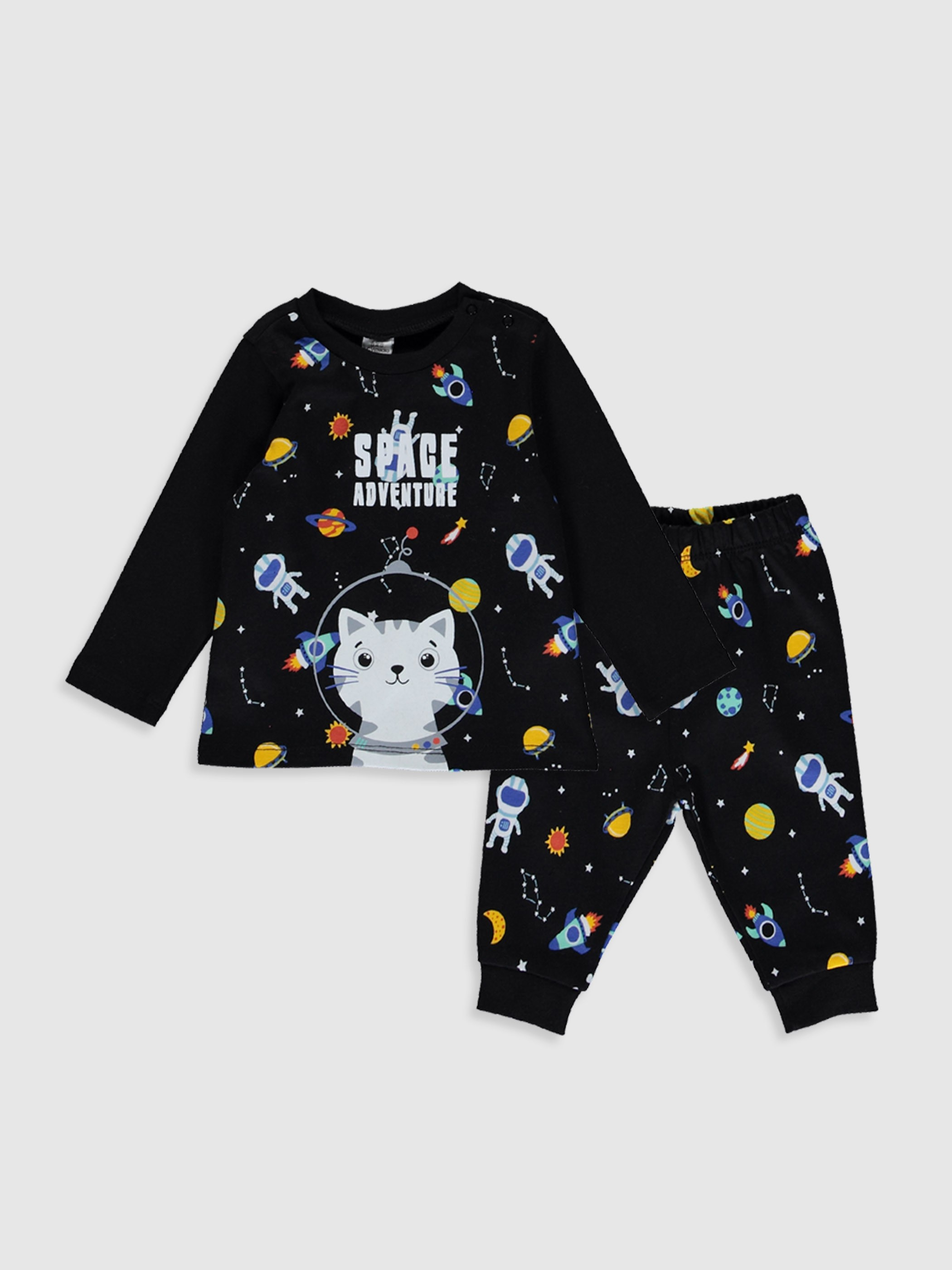 BLACK - Baby Boy's Printed Cotton Pyjamas Set - 9WI155Z1