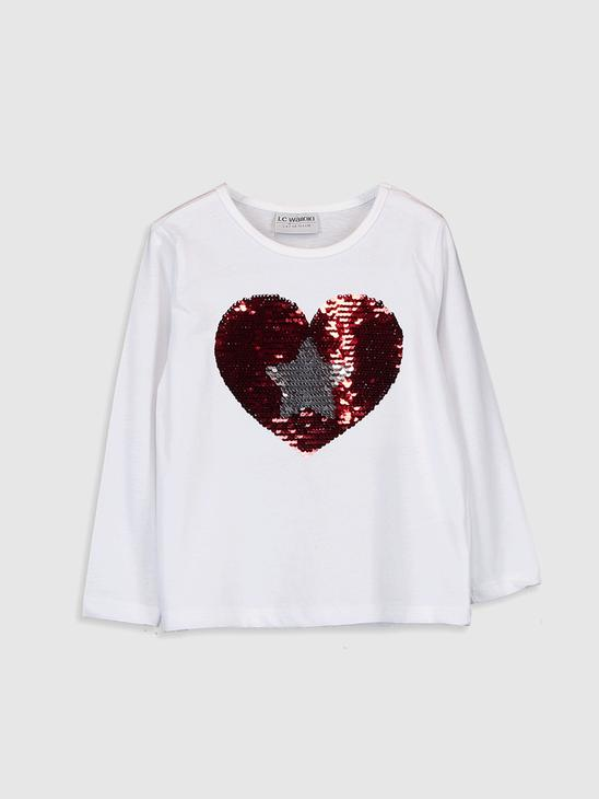 WHITE - Girl's Double-Sided Sequin Cotton T-Shirt - 9WI889Z4