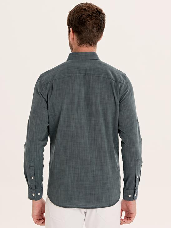 GREEN - Regular Fit Long Sleeve Poplin Shirt - 0S0150Z8