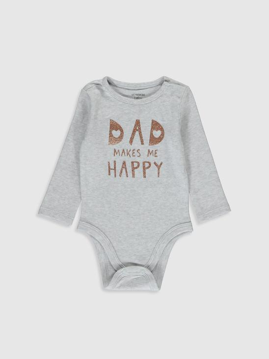 GREY - Crew Neck Long Sleeve Baby Girl Snap Body 2 Pieces - 9WK405Z1