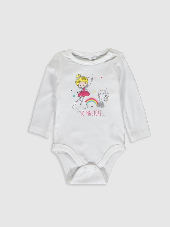 WHITE - Crew Neck Long Sleeve Baby Girl Snap Body 2 Pieces - 9WK373Z1