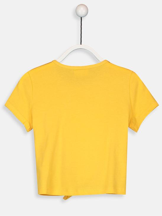 YELLOW - Girl's Double-Sided Sequin Cotton T-Shirt - 9SV979Z4