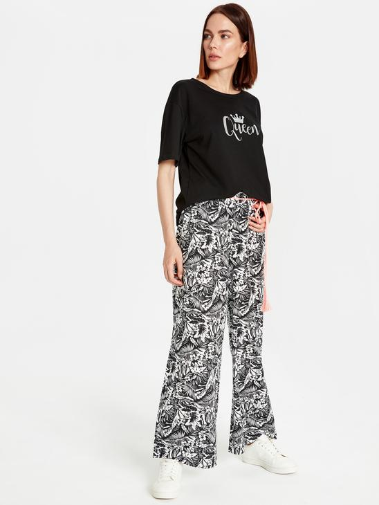 BLACK - Waistband Figured Palazzo Pants Mother and Daughter Matching - 9WM626Z4