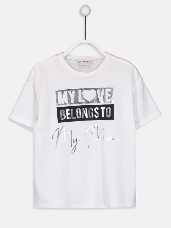 WHITE - Girl's's Printed Cotton T-Shirt Mother and Daughter Matching - 9WM685Z4