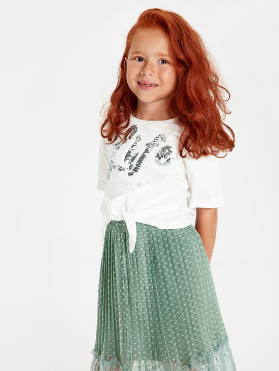 ECRU - Girl's's Spangled Cotton T-Shirt Mother and Daughter Matching - 9WM691Z4
