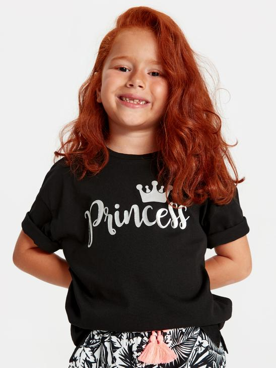 BLACK - Girl's's Printed Cotton T-Shirt Mother and Daughter Matching - 9WM685Z4