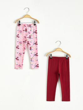 BORDEAUX - 2-pack Baby Girl's Long Leggings