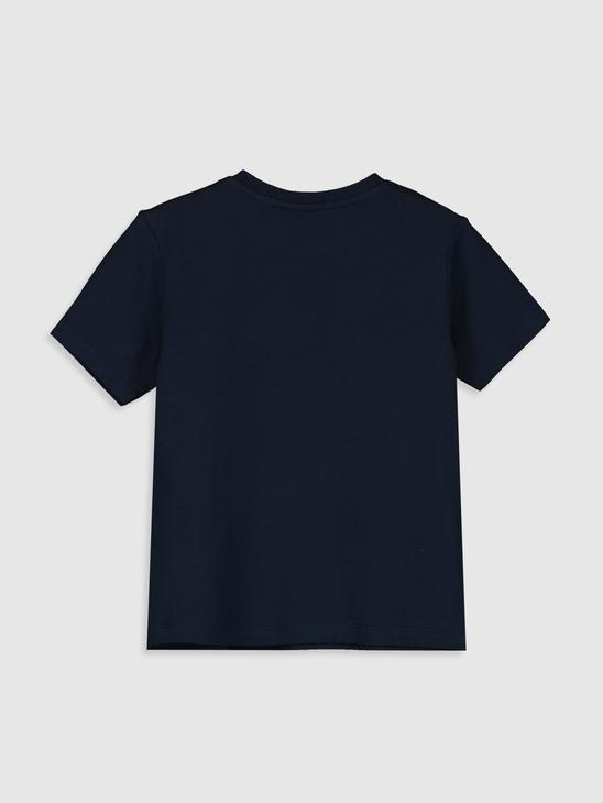 NAVY - Boy's Istanbul Printed Cotton T-Shirt Father and Son Matching - 0ST551Z4