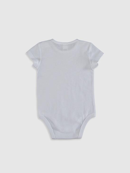 ECRU - Crew Neck Short Sleeve Embroidered Baby Girl Body With Snaps - 0ST916Z1