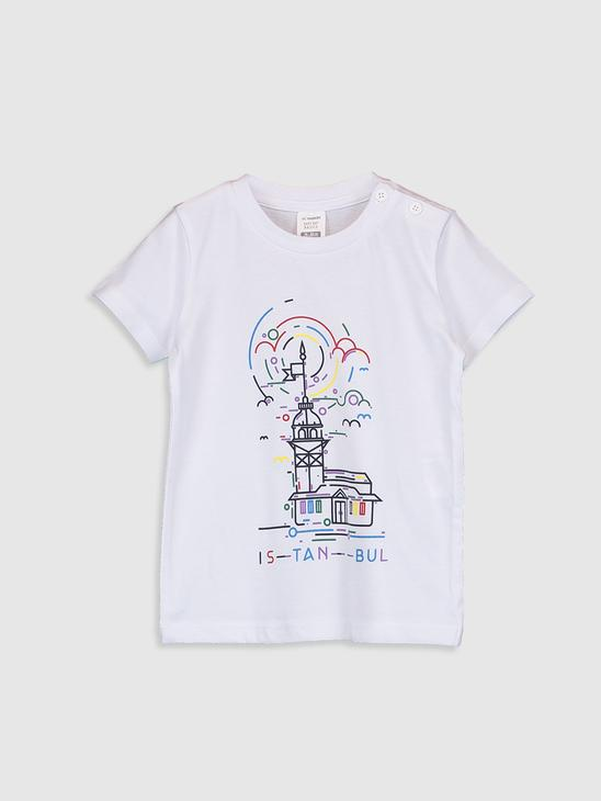 WHITE - Baby Boy's Printed Cotton T-Shirt Father and Son Matching - 0SU326Z1
