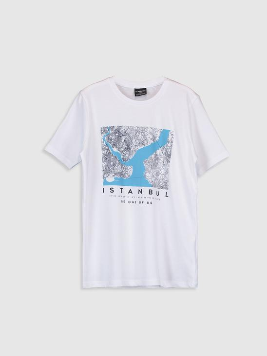 WHITE - Boy's Istanbul Printed Cotton T-Shirt Father and Son Matching - 0SU862Z4