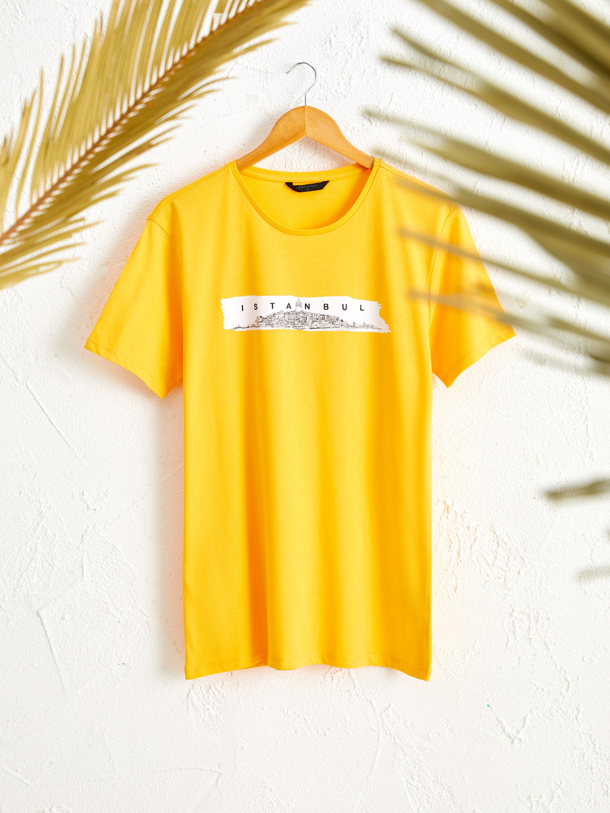 ORANGE - Crew Neck Short Sleeve Istanbul Printed Cotton T-Shirt Father and Son Matching - 0SU982Z8