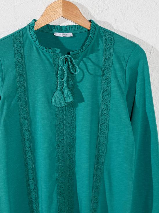 TURQUOISE - Lace Detailed Cotton T-Shirt - 0SV568Z8