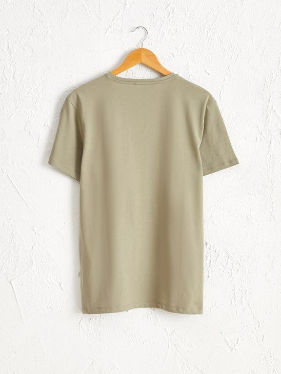 GREEN - Crew Neck Printed Combed Cotton T-Shirt - 0SY140Z8