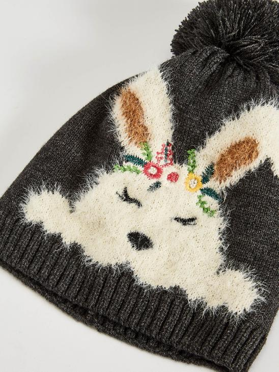 ANTHRACITE - Girl's Tricot Beret with Pompoms - 0WJ202Z4