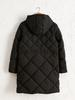 BLACK - Quilted Figured Short Coat with Hood - 0W1772Z8